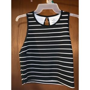 Striped Keyhole-back Crop Top